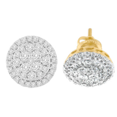 1 1/2 CT. T.W. White Diamond 10K Gold 15mm Round Stud Earrings