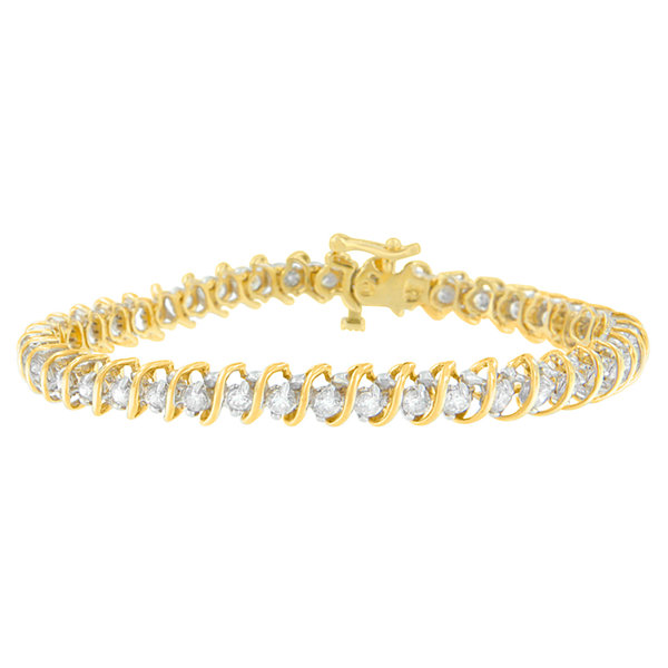 Womens 3 CT. T.W. White Diamond 18K Gold Tennis Bracelet