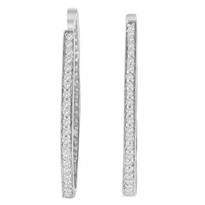 1 CT. T.W. White Diamond 14K White Gold 30mm Round Hoop Earrings