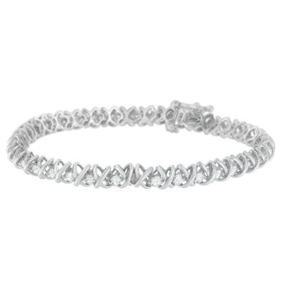 3 CT. T.W. White Diamond 18K White Gold Round 7 Inch Tennis Bracelet
