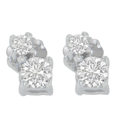1/2 CT. T.W. White Diamond 14K White Gold 15mm Round Stud Earrings