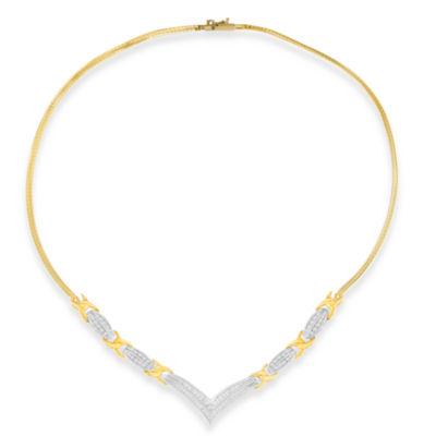 Womens 1 CT. T.W. White Diamond 10K Two Tone Gold Pendant Necklace
