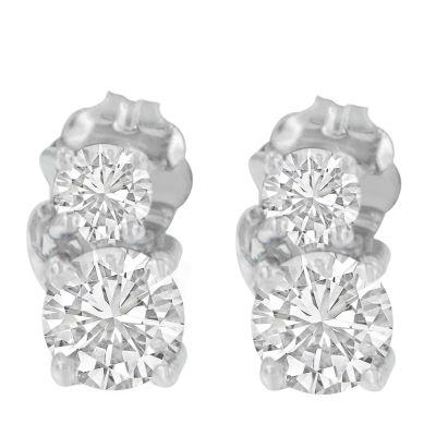 3/4 CT. T.W. White Diamond 14K White Gold 15mm Round Stud Earrings