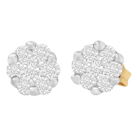 1/2 CT. T.W. Genuine White Diamond 14K Gold 5mm Round Stud Earrings
