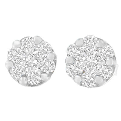 3/4 CT. T.W. White Diamond 14K White Gold 6mm Round Stud Earrings