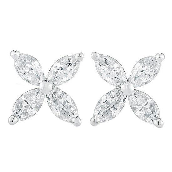 1 CT. T.W. Genuine White Diamond 14K White Gold 10mm Stud Earrings