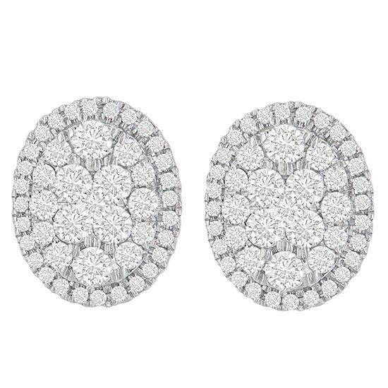 1 3/4 CT. T.W. Genuine White Diamond 14K Gold 15mm Round Stud Earrings