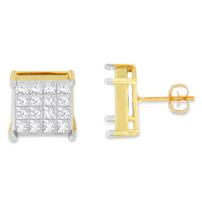 2 CT. T.W. White Diamond 10K Gold 15mm Stud Earrings