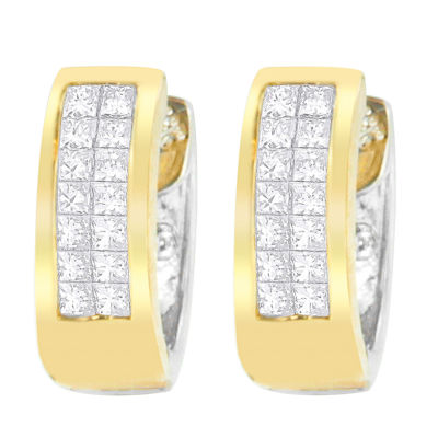 1/2 CT. T.W. White Diamond 14K Two Tone Gold 12mm Round Stud Earrings