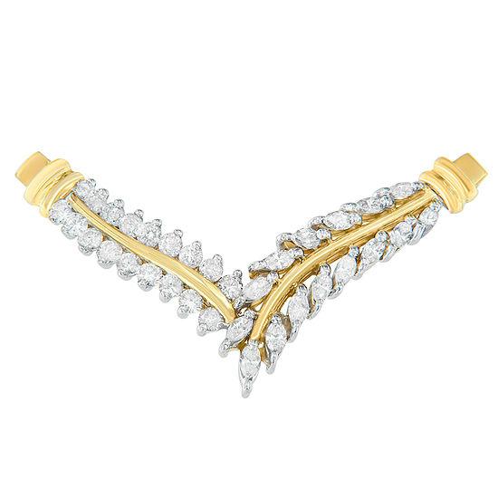 Womens 1 CT. T.W. Genuine White Diamond 14K Gold Pendant Necklace