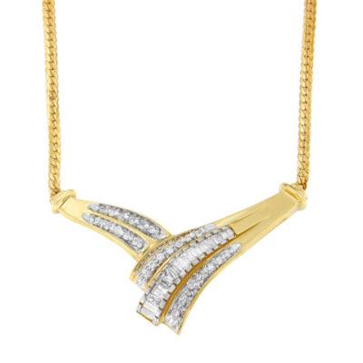 Womens 3/4 CT. T.W. White Diamond 14K Gold Pendant Necklace