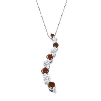 Womens 1 CT. T.W. White Diamond 14K White Gold Pendant Necklace