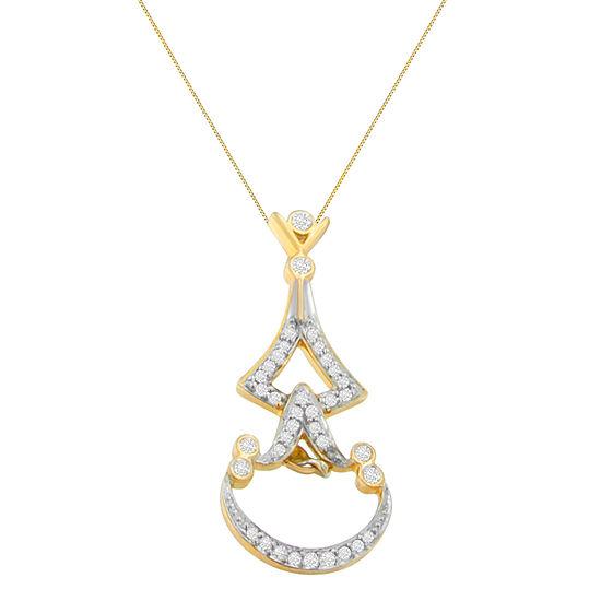 Womens 1/3 CT. T.W. Genuine White Diamond 14K Gold Pendant Necklace