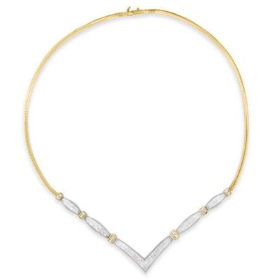 Womens 3 CT. T.W. White Diamond 14K Two Tone Gold Pendant Necklace