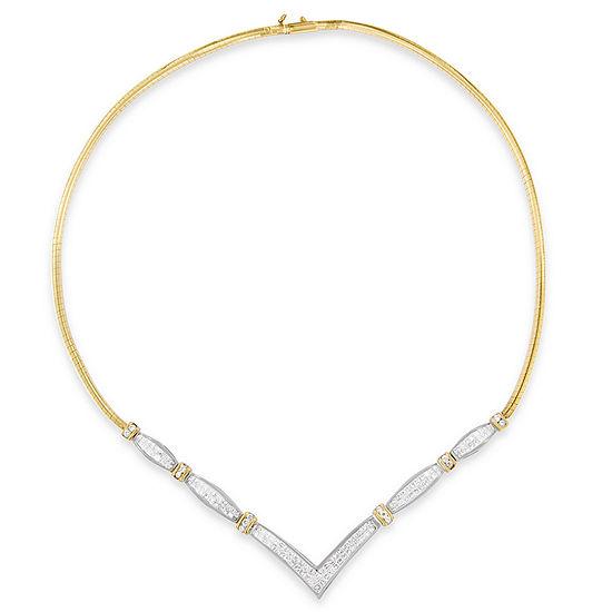 Womens 3 CT. T.W. Genuine White Diamond 14K Two Tone Gold Pendant Necklace