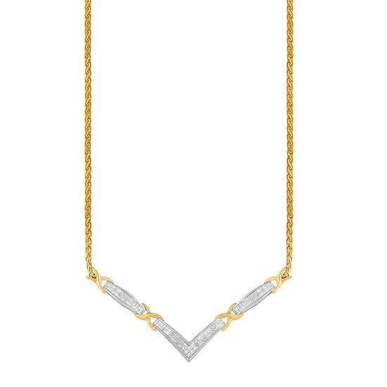 Womens 1 CT. T.W. Genuine White Diamond 14K Two Tone Gold Pendant Necklace