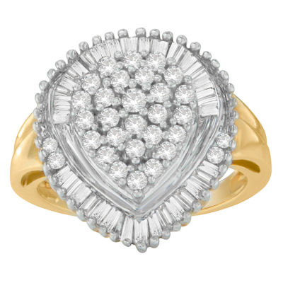 Womens 1 CT. T.W. White Diamond 10K Gold Cocktail Ring