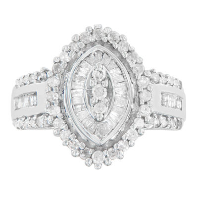 Womens 1 CT. T.W. White Diamond 10K White Gold Cocktail Ring