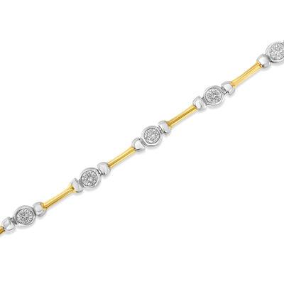 1 1/2 CT. T.W. White Diamond 14K Two Tone Gold 7 Inch Tennis Bracelet