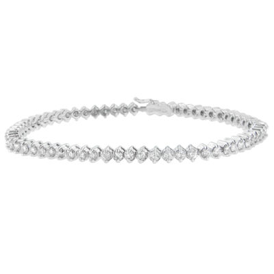 3 CT. T.W. White Diamond 14K White Gold 7 Inch Tennis Bracelet