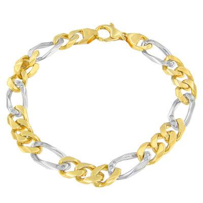 14K Two Tone Gold 7 Inch Solid Link Link Bracelet