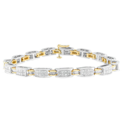 Womens 7 Inch 3 CT. T.W. White Diamond 14K Gold Link Bracelet