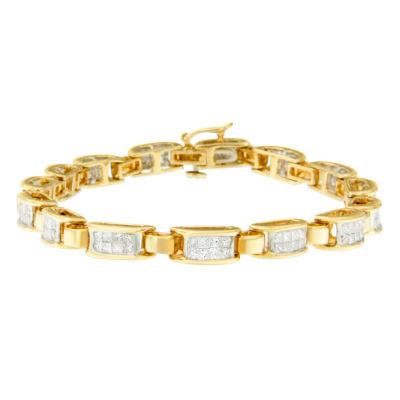 Womens 7 Inch 2 1/2 CT. T.W. White Diamond 14K Gold Link Bracelet