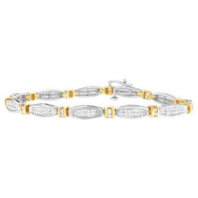 Womens 2 CT. T.W. White Diamond 14K Gold Beaded Bracelet
