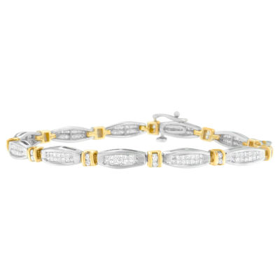 2 CT. T.W. White Diamond 14K Two Tone Gold Beaded Bracelet