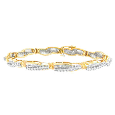 Womens 3 CT. T.W. White Diamond 14K Gold Tennis Bracelet