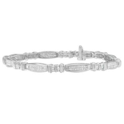 2 CT. T.W. White Diamond 14K White Gold Beaded Bracelet