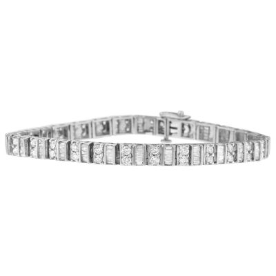 Womens 4 CT. T.W. White Diamond 14K Gold Tennis Bracelet