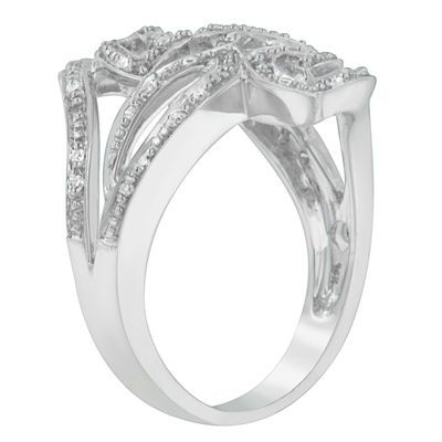 Womens 1/4 CT. T.W. White Diamond 14K White Gold Cocktail Ring