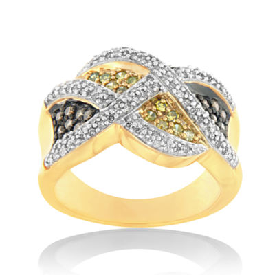 Womens 3/4 CT. T.W. Color Enhanced White Diamond 14K Gold Crossover Ring