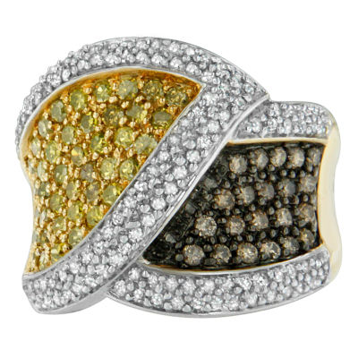 Womens 1 1/2 CT. T.W. Color Enhanced White Diamond 14K Gold Crossover Ring