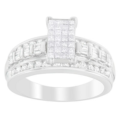 Womens 1 CT. T.W. White Diamond 14K White Gold Cocktail Ring