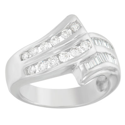 Womens 7/8 CT. T.W. White Diamond 14K Gold Bypass Ring
