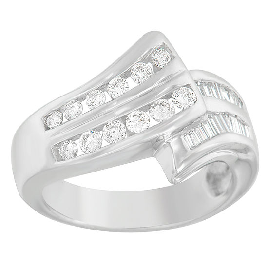 Womens 7/8 CT. T.W. Genuine White Diamond 14K White Gold Bypass  Cocktail Ring