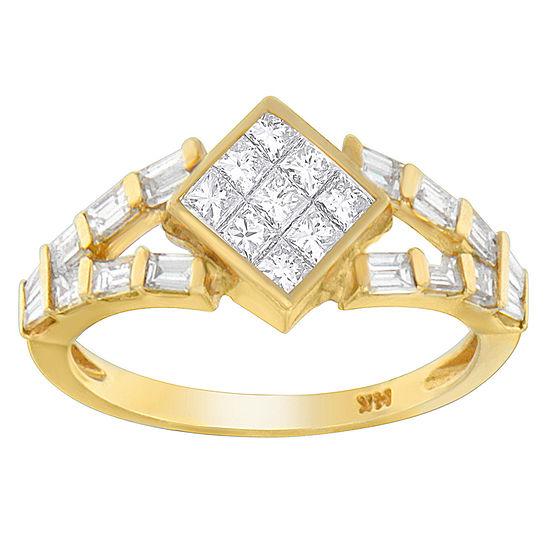Womens 1 3/8 CT. T.W. Genuine White Diamond 14K Gold Cocktail Ring