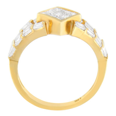 Womens 1 3/8 CT. T.W. White Diamond 14K Gold Cocktail Ring