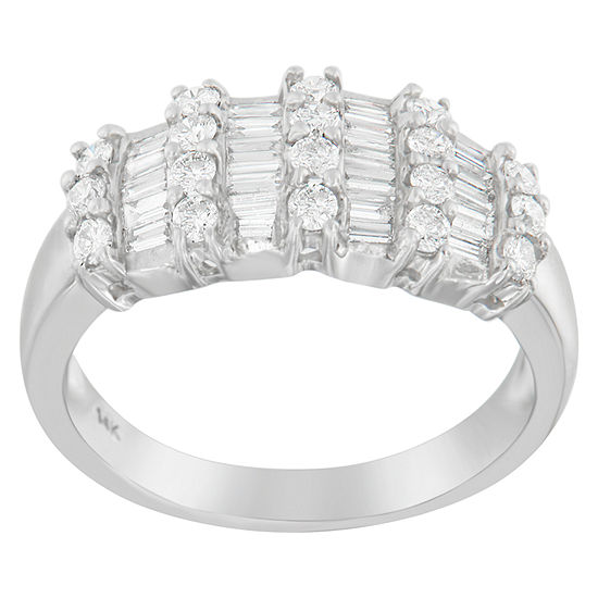 Womens 1 Ct Tw Genuine White Diamond 14k White Gold Cocktail Ring