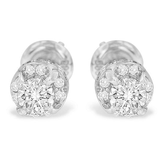 1 CT. T.W. Genuine White Diamond 14K White Gold 5mm Round Stud Earrings