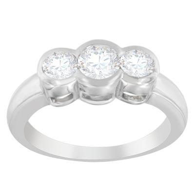 Love Lives Forever Womens 1 CT. T.W. White Diamond 14K White Gold 3-Stone Ring