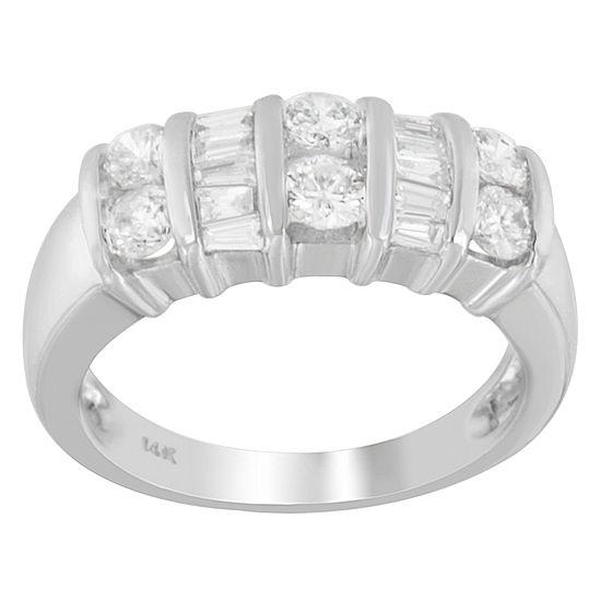 Womens 2.5MM 1 CT. T.W. Genuine White Diamond 14K White Gold Wedding Band