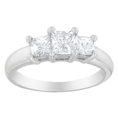 Love Lives Forever Womens 1 1/2 CT. T.W. Princess White Diamond 14K Gold 3-Stone Ring
