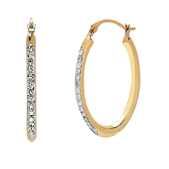 14k Gold 253mm Oval Hoop Earrings