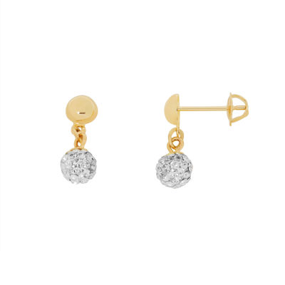 14K Gold Round Drop Earrings