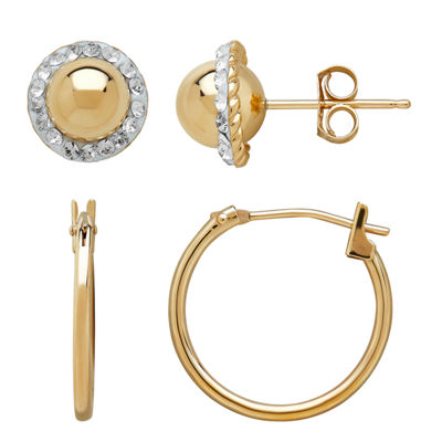 2 Pair 10K Gold Round Earring Set