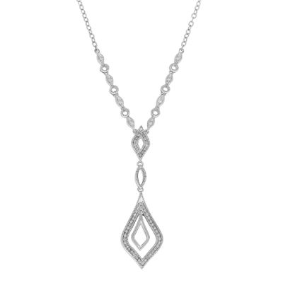 Womens 1/6 CT. T.W. Genuines White Diamond Sterling Silver Pendant Necklace
