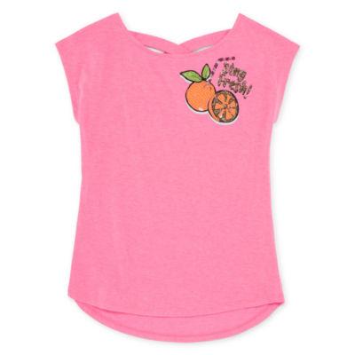 Arizona Girls Short Sleeve Glitter Graphic T-Shirt